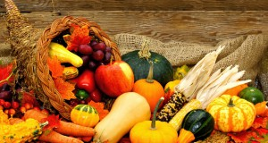 Harvest or Thanksgiving cornucopia filled with vegetables